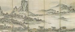 狩野元信「西湖図屏風」パンフコピー.JPG